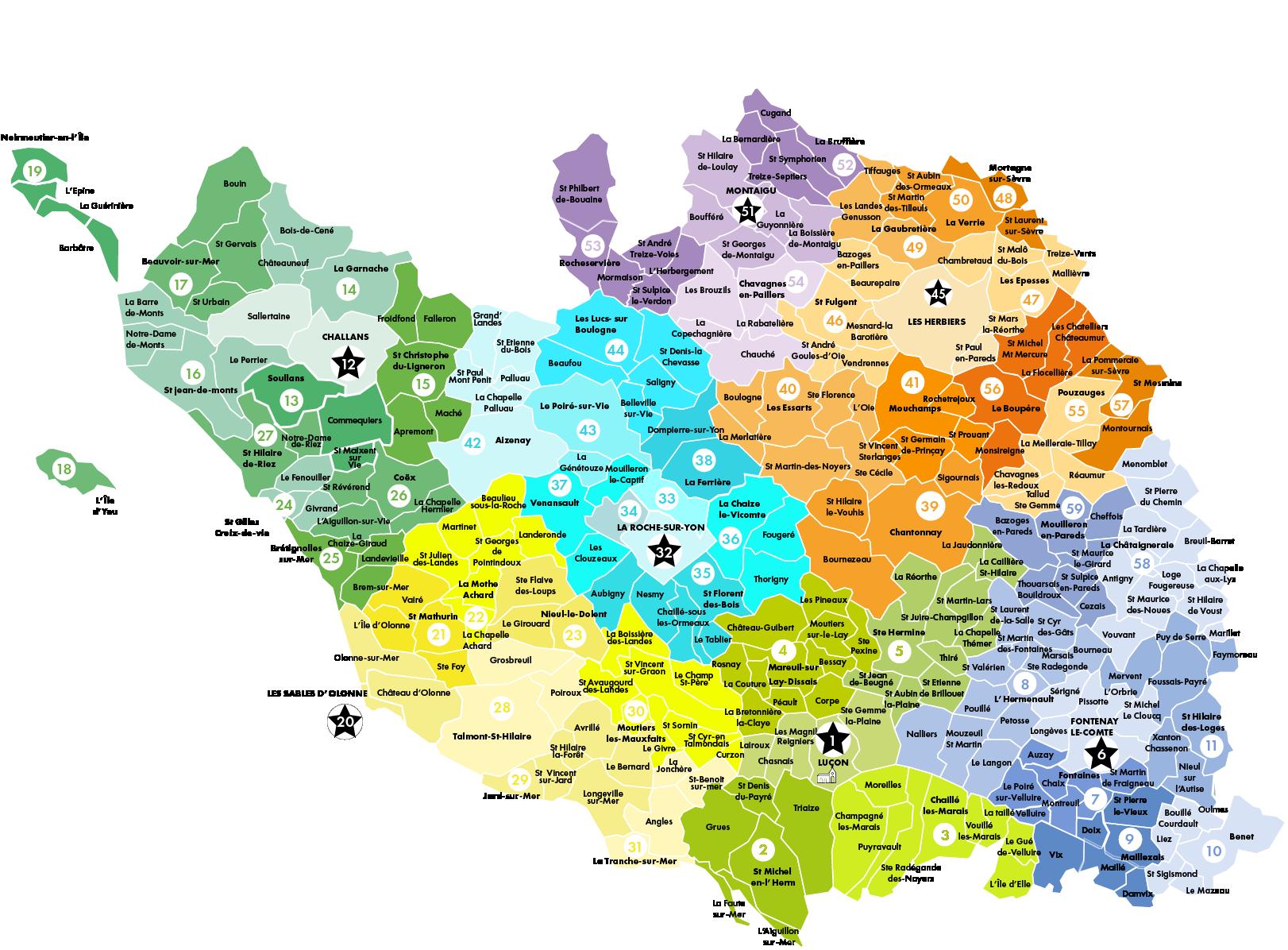 Carte des paroisses du diocèse de Luçon